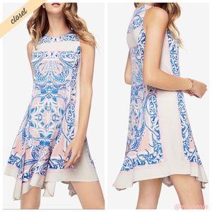 [BCBG] Lt Pink & Blue Mercey Paisley-Print Dress